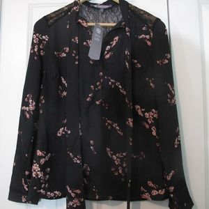 Daisy Fuentes Black Floral Top S NWT